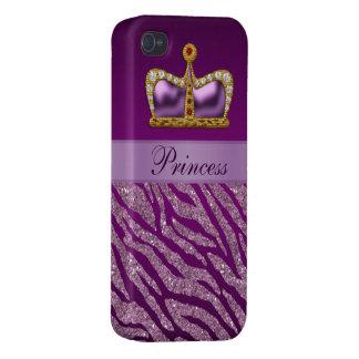 Purple Princess Crown Faux Glitter Zebra Print iPhone 4/4S Covers