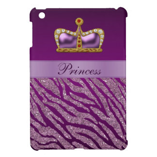 Purple Princess Crown Zebra Print iPad Mini Case