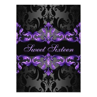 Purple Princess Damask Sweet16 Birthday Invite