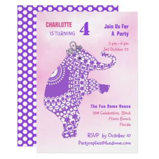 Purple Princess Elephant Birthday Party Editable Card