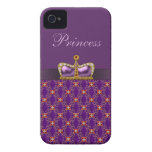 Purple Princess Faux Diamonds & Ruby Crown iPhone 4 Covers