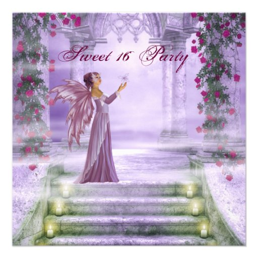 Purple Princess Red Rose Sweet 16 Party Custom Invites