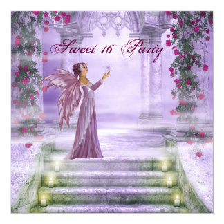 Purple Princess Red Rose Sweet 16 Party Invitation