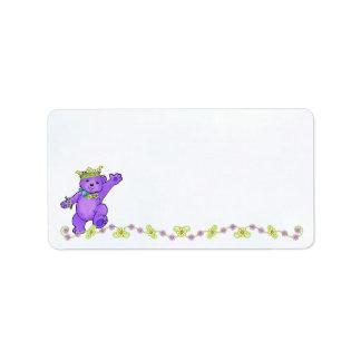 Purple Princess Teddy Bear Label