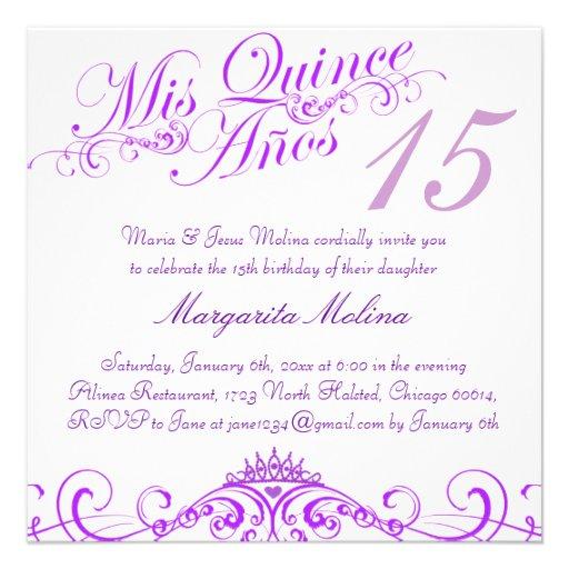 Quince invitation templates free free printable invitation purple princess tiara quinceanera invitation 525 square invitation card zazzle stopboris Image collections