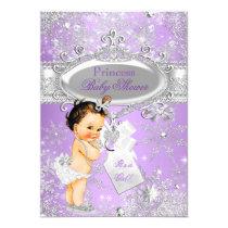 Purple Princess Winter Baby Shower Brunette Card