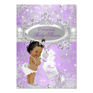 Purple Princess Winter Baby Shower Ethnic 5x7 Paper Invitation Card