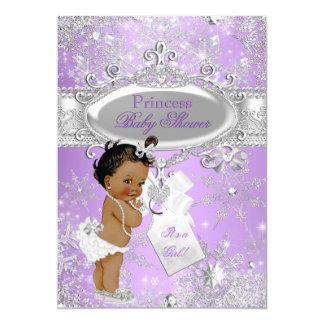Purple Princess Winter Baby Shower Ethnic 5x7 Paper Invitation Card