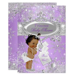 Purple Princess Winter Baby Shower Ethnic Card