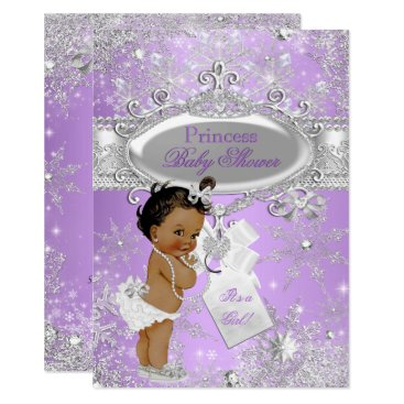 Toddler & Baby themed Purple Princess Winter Baby Shower Ethnic Card