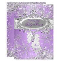 Purple Princess Winter Girl Baby Shower Card