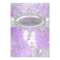 Purple Princess Winter Girl Baby Shower Card