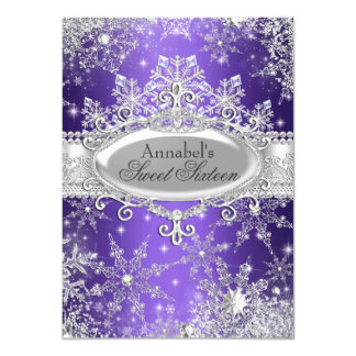 "Purple Princess Winter Wonderland Sweet 16 Invite 4.5"" X 6.25"" Invitation Card"