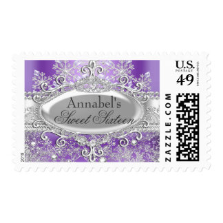 Purple Princess Winter Wonderland Sweet 16 Stamp