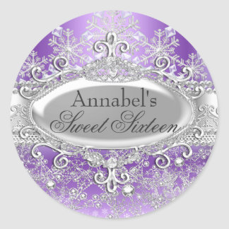 Purple Princess Winter Wonderland Sweet 16 Sticker