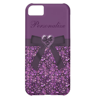 Purple Printed Gem Stones & Heart Jewel Cover For iPhone 5C
