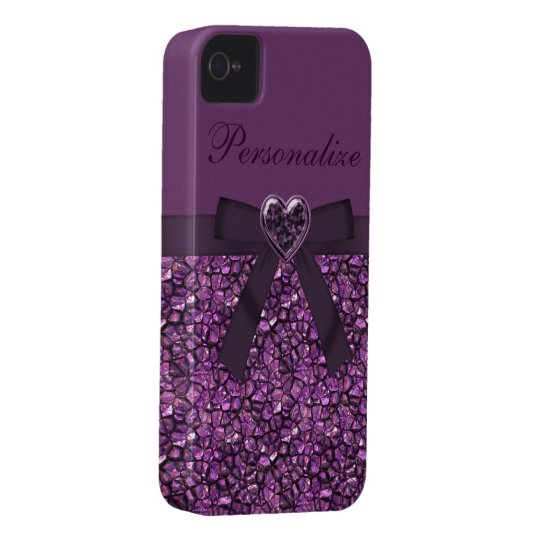 Purple Printed Gem Stones & Heart Jewel iPhone 4 Case