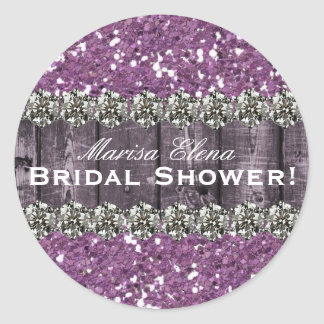 Purple Printed Glitter Wood Bridal Shower Favor Classic Round Sticker