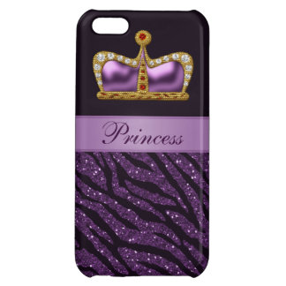 Purple Printed Princess Crown & Zebra Glitter Cover For iPhone 5C