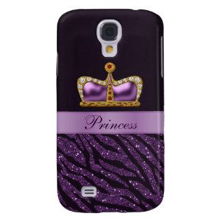 Purple Printed Princess Crown &  Zebra Glitter Galaxy S4 Case