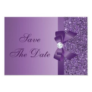 Purple Printed Sequins Baby Shower Save the Date Card