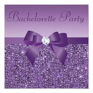 "Purple Printed Sequins Bow & Diamond Bachelorette 5.25"" Square Invitation Card"