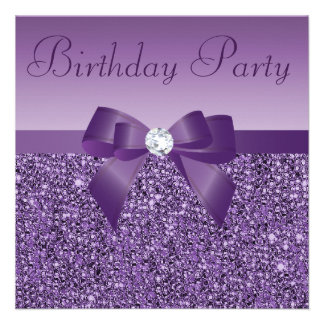 Purple Printed Sequins Bow Diamond Birthday Custom Announcements