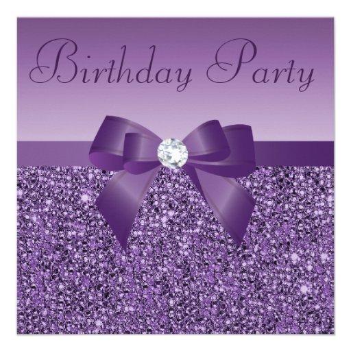 Purple Printed Sequins Bow & Diamond Birthday Custom Announcements