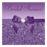 Purple Printed Sequins Bow & Diamond Bridal Shower Personalized Announcement