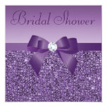 Purple Printed Sequins Bow & Diamond Bridal Shower 5.25x5.25 Square Paper Invitation Card