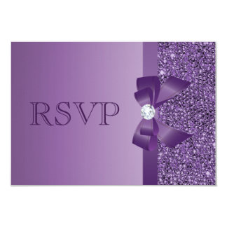 Purple Printed Sequins, Bow & Diamond RSVP Wedding 3.5x5 Paper Invitation Card