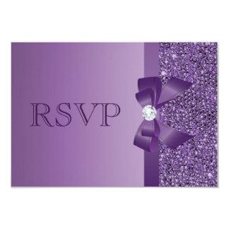 Purple Printed Sequins, Bow & Diamond RSVP Wedding Card