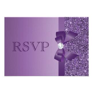 Purple Printed Sequins Bow Diamond RSVP Wedding Custom Invitations