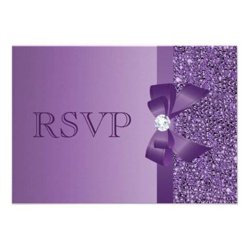 Purple Printed Sequins, Bow & Diamond RSVP Wedding Custom Invitations