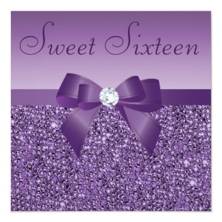 "Purple Printed Sequins Bow & Diamond Sweet 16 5.25"" Square Invitation Card"