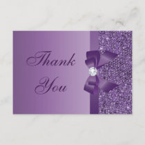 Purple Printed Sequins Bow & Diamond Thank You