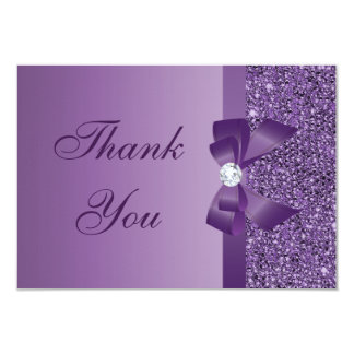 Purple Printed Sequins Bow & Diamond Thank You 3.5x5 Paper Invitation Card