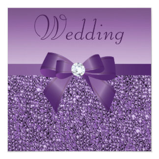 Purple Printed Sequins Bow & Diamond Wedding Card