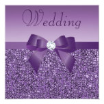 Purple Printed Sequins Bow & Diamond Wedding 5.25x5.25 Square Paper Invitation Card