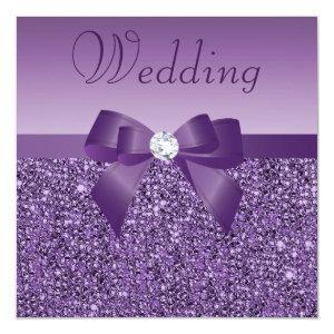 Purple Printed Sequins Bow & Diamond Wedding 5.25x5.25 Square Paper Invitation Card