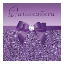 Purple Printed Sequins & Bow Quinceanera Invitation