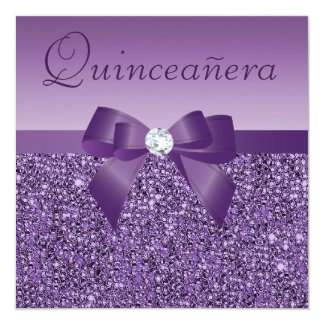 Purple Printed Sequins & Bow Quinceanera 5.25x5.25 Square Paper Invitation Card