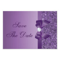 Purple Printed Sequins Wedding Save the Date Card