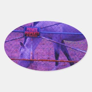 Purple Private Property Horse Oval Sticker