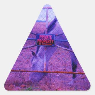 Purple Private Property Horse Triangle Sticker