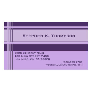 Purple Professional Stripes Block Double-Sided Standard Business Cards (Pack Of 100)