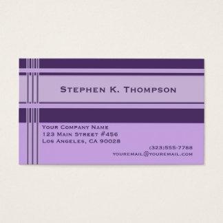 Purple Professional Stripes Block Business Card