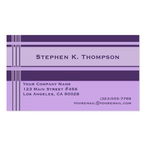 Purple Professional Stripes Block Business Card Template