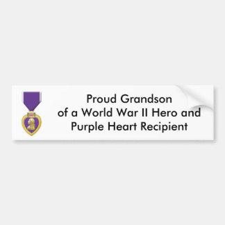 purple, Proud Grandson of a World War II Hero a... Bumper Sticker