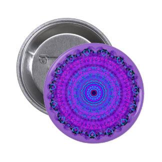Purple Psyche Mandala kaleidoscope button pin